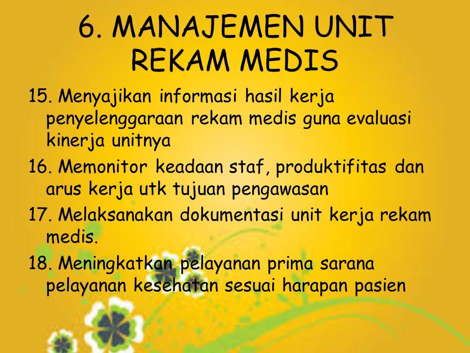 6. MANAJEMEN UNIT REKAM MEDIS 15.