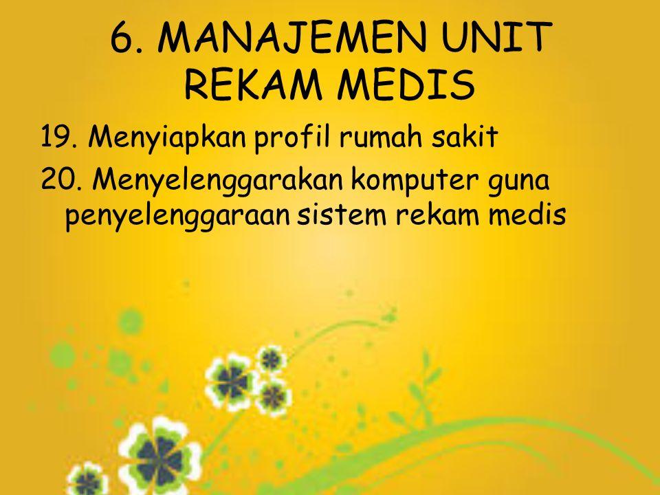 6. MANAJEMEN UNIT REKAM MEDIS 19. Menyiapkan profil rumah sakit 20.