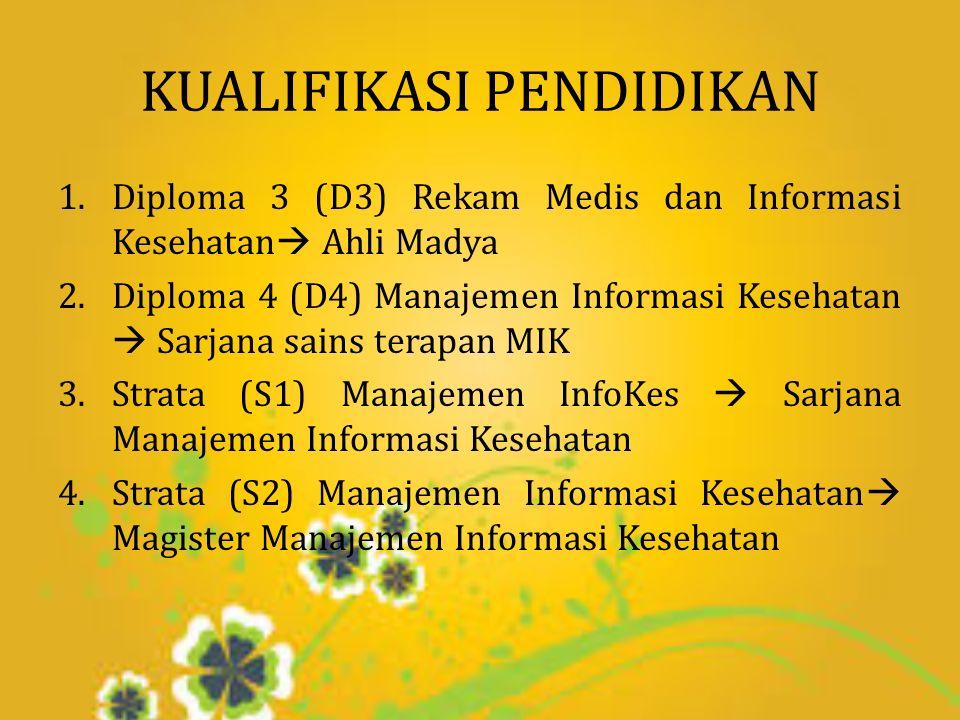 KUALIFIKASI PENDIDIKAN 1.Diploma 3 (D3) Rekam Medis dan Informasi Kesehatan  Ahli Madya 2.Diploma 4 (D4) Manajemen Informasi Kesehatan  Sarjana sains terapan MIK 3.Strata (S1) Manajemen InfoKes  Sarjana Manajemen Informasi Kesehatan 4.Strata (S2) Manajemen Informasi Kesehatan  Magister Manajemen Informasi Kesehatan