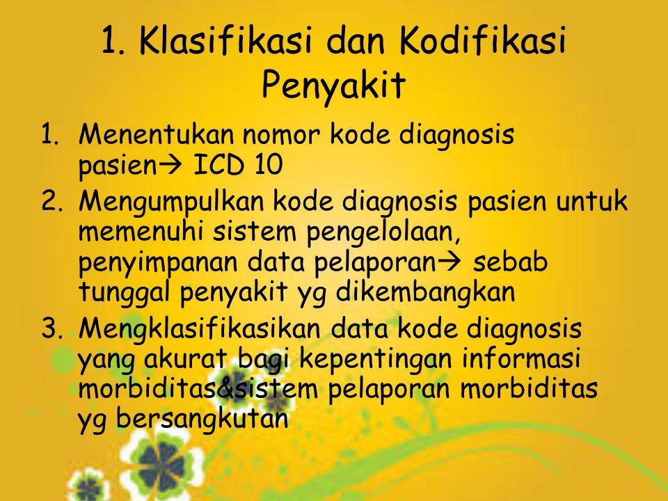 1. Klasifikasi dan Kodifikasi Penyakit 1.Menentukan nomor kode diagnosis pasien  ICD 10 2.Mengumpulkan kode diagnosis pasien untuk memenuhi sistem pe