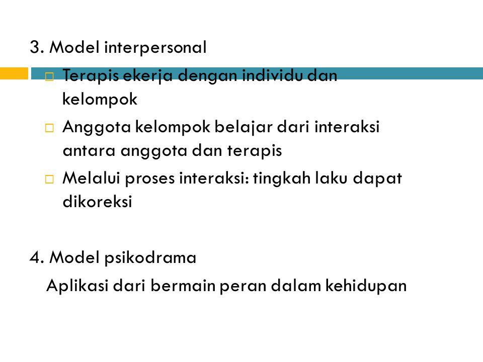 3. Model interpersonal  Terapis ekerja dengan individu dan kelompok  Anggota kelompok belajar dari interaksi antara anggota dan terapis  Melalui pr