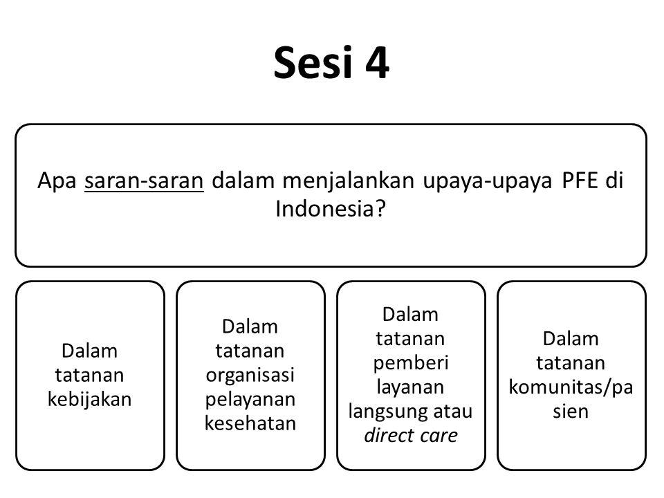 Sesi 4 Apa saran-saran dalam menjalankan upaya-upaya PFE di Indonesia.