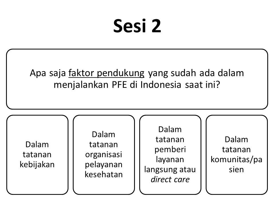 Sesi 2 Apa saja faktor pendukung yang sudah ada dalam menjalankan PFE di Indonesia saat ini.