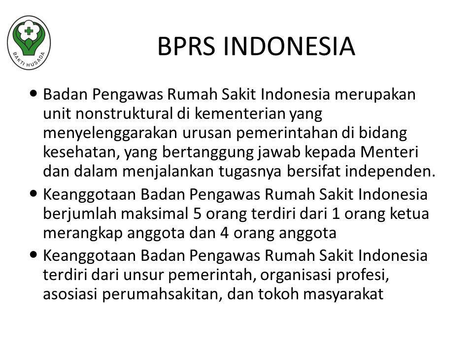 Badan Pengawas Rumah Sakit Indonesia merupakan unit nonstruktural di kementerian yang menyelenggarakan urusan pemerintahan di bidang kesehatan, yang bertanggung jawab kepada Menteri dan dalam menjalankan tugasnya bersifat independen.