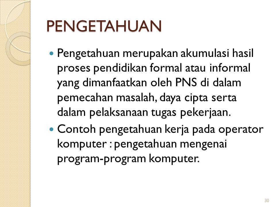 PENGETAHUAN Pengetahuan merupakan akumulasi hasil proses pendidikan formal atau informal yang dimanfaatkan oleh PNS di dalam pemecahan masalah, daya cipta serta dalam pelaksanaan tugas pekerjaan.