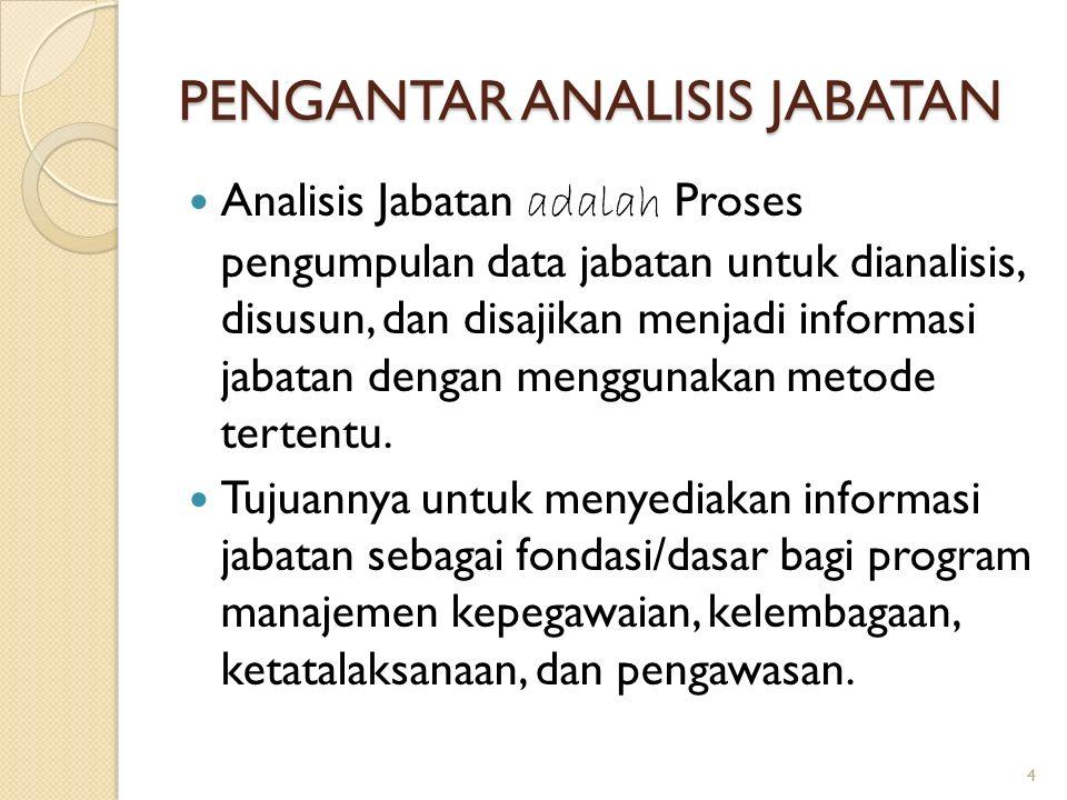 PENGANTAR ANALISIS JABATAN Analisis Jabatan adalah Proses pengumpulan data jabatan untuk dianalisis, disusun, dan disajikan menjadi informasi jabatan dengan menggunakan metode tertentu.