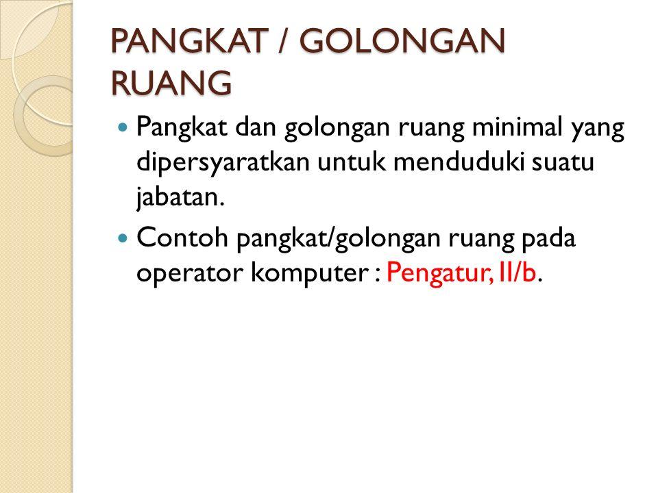 PANGKAT / GOLONGAN RUANG Pangkat dan golongan ruang minimal yang dipersyaratkan untuk menduduki suatu jabatan. Contoh pangkat/golongan ruang pada oper