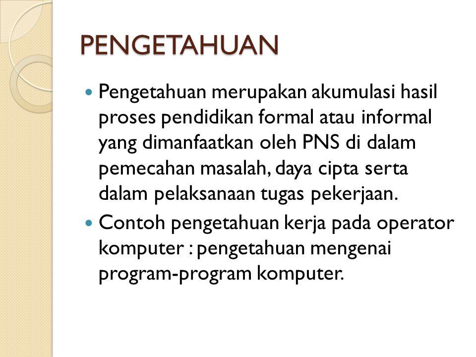 PENGETAHUAN Pengetahuan merupakan akumulasi hasil proses pendidikan formal atau informal yang dimanfaatkan oleh PNS di dalam pemecahan masalah, daya c