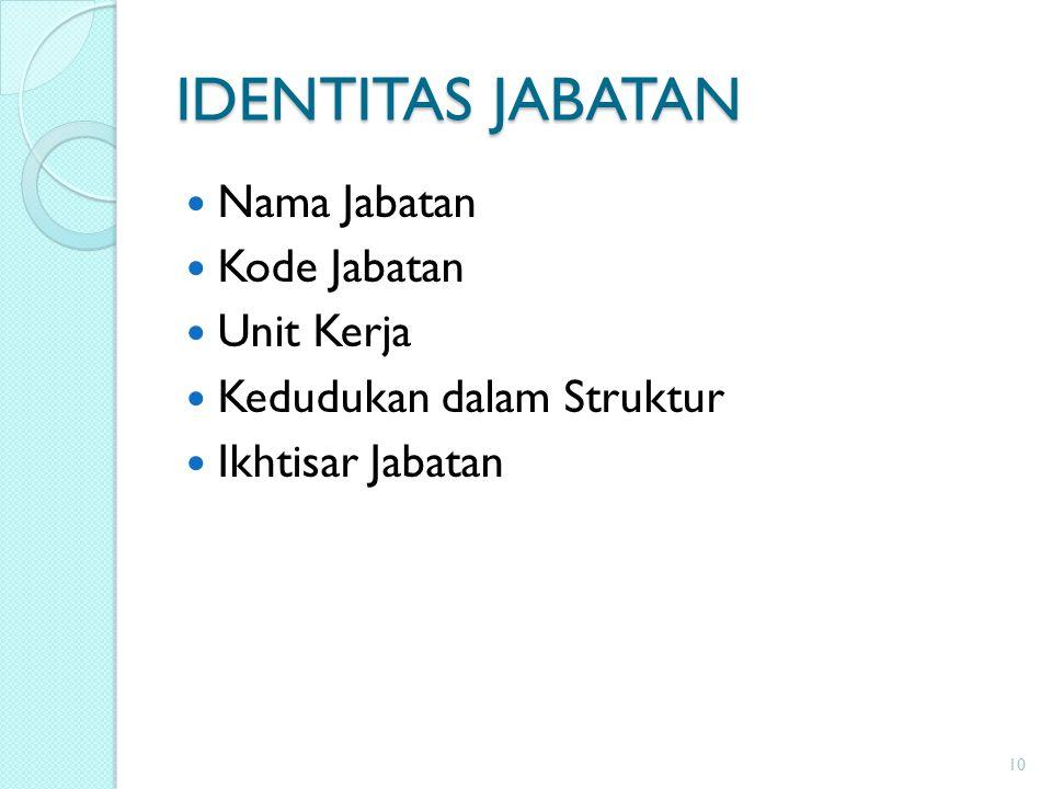 IDENTITAS JABATAN Nama Jabatan Kode Jabatan Unit Kerja Kedudukan dalam Struktur Ikhtisar Jabatan 10