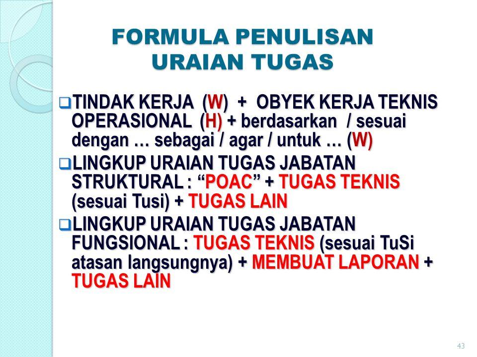  TINDAK KERJA (W) + OBYEK KERJA TEKNIS OPERASIONAL (H) + berdasarkan / sesuai dengan … sebagai / agar / untuk … (W)  LINGKUP URAIAN TUGAS JABATAN ST