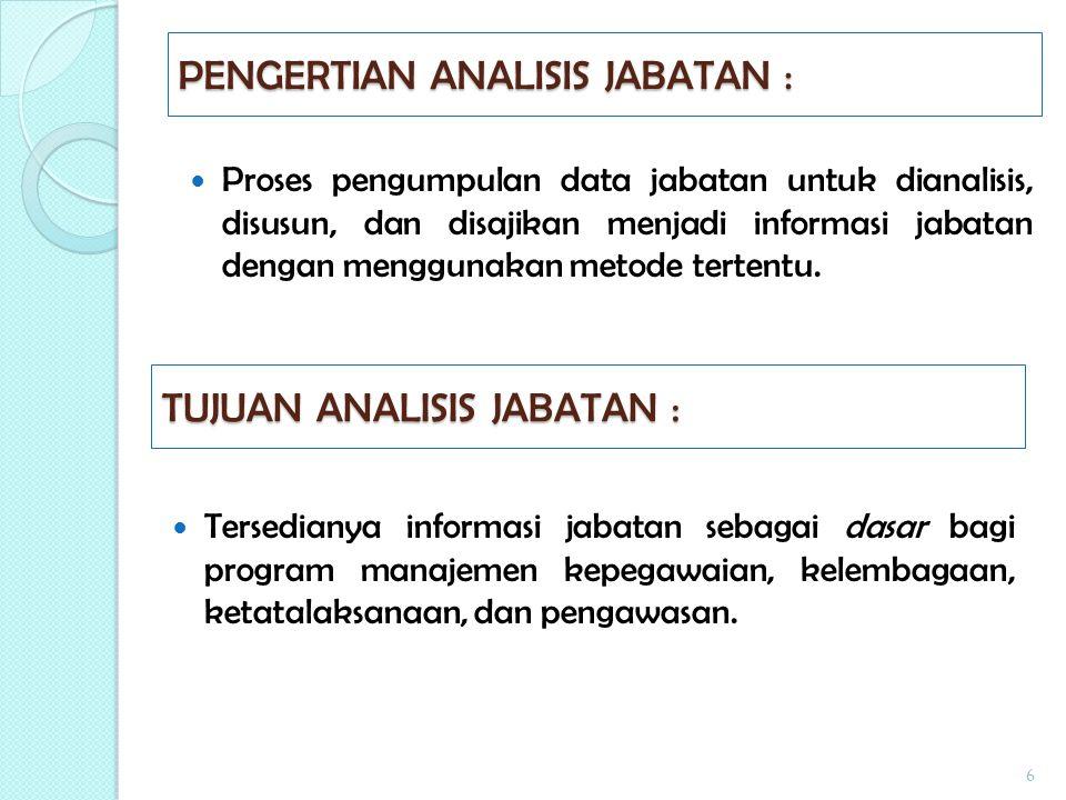 Tahap Pelaksanaan Analisis Jabatan : 1.Pengumpulan Data ( 1,2,3 ) 123 2.