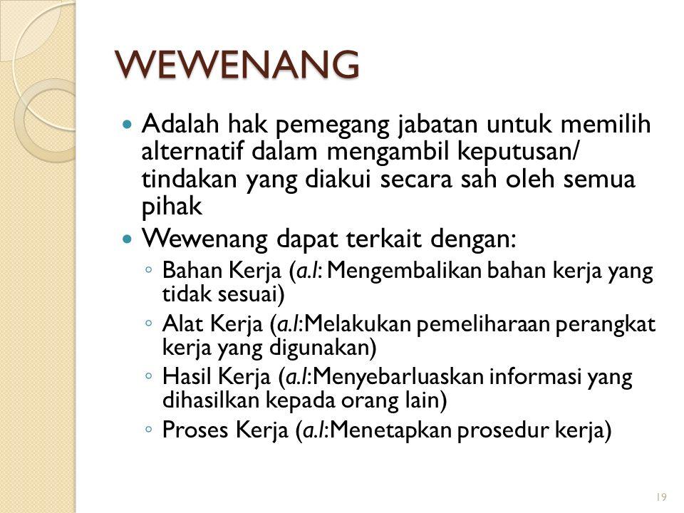 WEWENANG Adalah hak pemegang jabatan untuk memilih alternatif dalam mengambil keputusan/ tindakan yang diakui secara sah oleh semua pihak Wewenang dapat terkait dengan: ◦ Bahan Kerja (a.l: Mengembalikan bahan kerja yang tidak sesuai) ◦ Alat Kerja (a.l:Melakukan pemeliharaan perangkat kerja yang digunakan) ◦ Hasil Kerja (a.l:Menyebarluaskan informasi yang dihasilkan kepada orang lain) ◦ Proses Kerja (a.l:Menetapkan prosedur kerja) 19