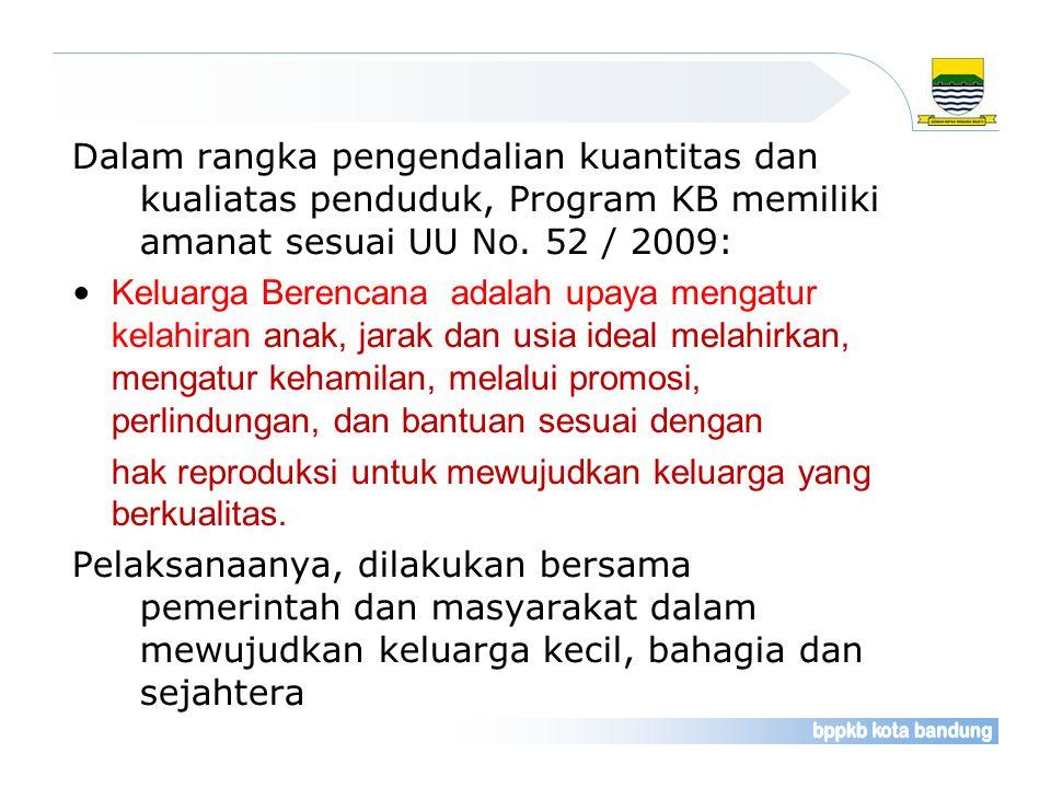 Dalam rangka pengendalian kuantitas dan kualiatas penduduk, Program KB memiliki amanat sesuai UU No. 52 / 2009: Keluarga Berencana adalah upaya mengat