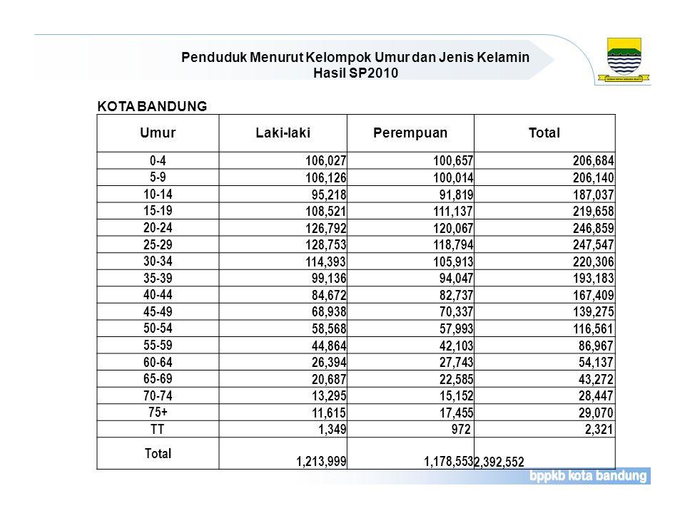 Penduduk Menurut Kelompok Umur dan Jenis Kelamin Hasil SP2010 KOTA BANDUNG UmurLaki-lakiPerempuanTotal 0-4 106,027 100,657 206,684 5-9 106,126 100,014
