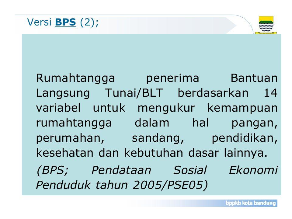 Versi BPS (2); Rumahtangga penerima Bantuan Langsung Tunai/BLT berdasarkan 14 variabel untuk mengukur kemampuan rumahtangga dalam hal pangan, perumaha
