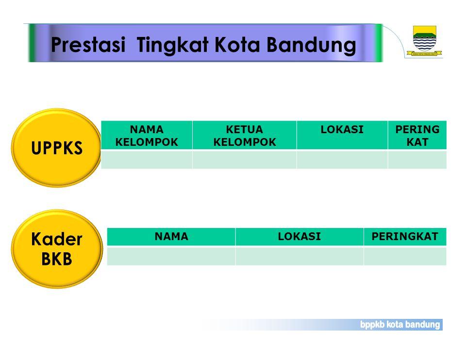 Prestasi Tingkat Kota Bandung UPPKS NAMA KELOMPOK KETUA KELOMPOK LOKASIPERING KAT Kader BKB NAMALOKASIPERINGKAT