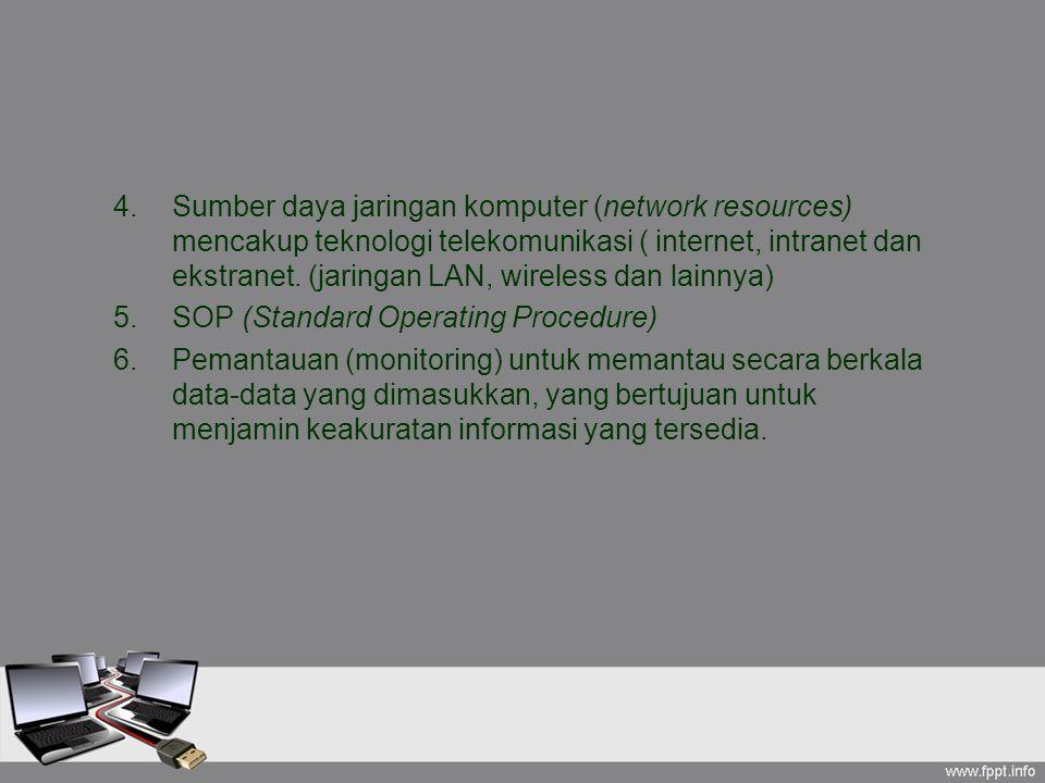 4.Sumber daya jaringan komputer (network resources) mencakup teknologi telekomunikasi ( internet, intranet dan ekstranet. (jaringan LAN, wireless dan