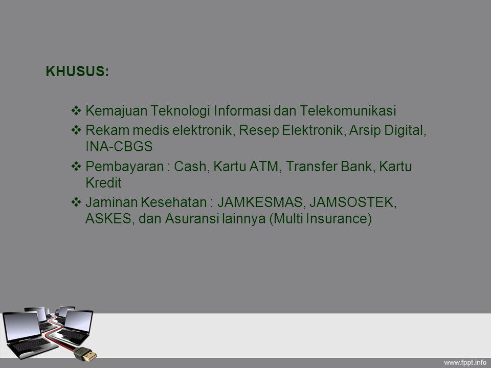 KHUSUS:  Kemajuan Teknologi Informasi dan Telekomunikasi  Rekam medis elektronik, Resep Elektronik, Arsip Digital, INA-CBGS  Pembayaran : Cash, Kar