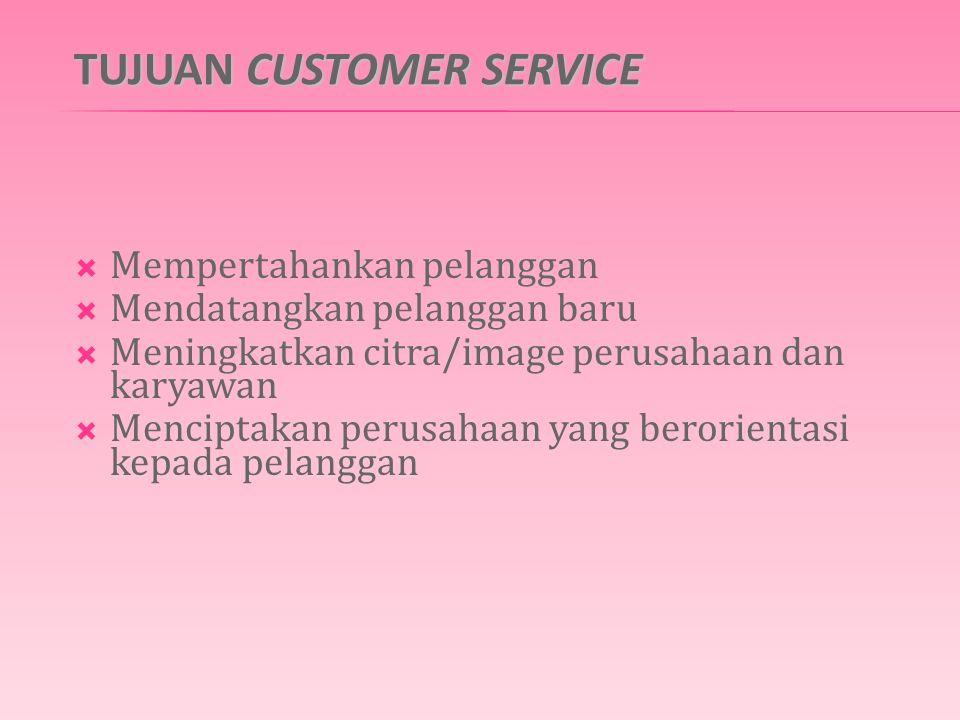 TUJUAN CUSTOMER SERVICE  Mempertahankan pelanggan  Mendatangkan pelanggan baru  Meningkatkan citra/image perusahaan dan karyawan  Menciptakan perusahaan yang berorientasi kepada pelanggan