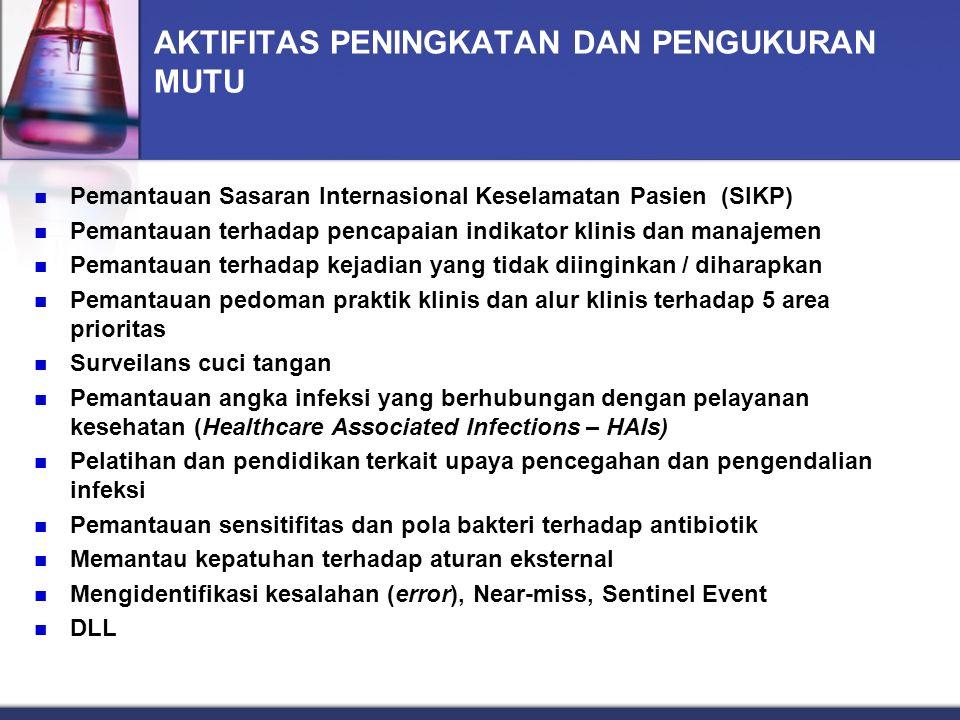 AKTIFITAS PENINGKATAN DAN PENGUKURAN MUTU Pemantauan Sasaran Internasional Keselamatan Pasien (SIKP) Pemantauan terhadap pencapaian indikator klinis d