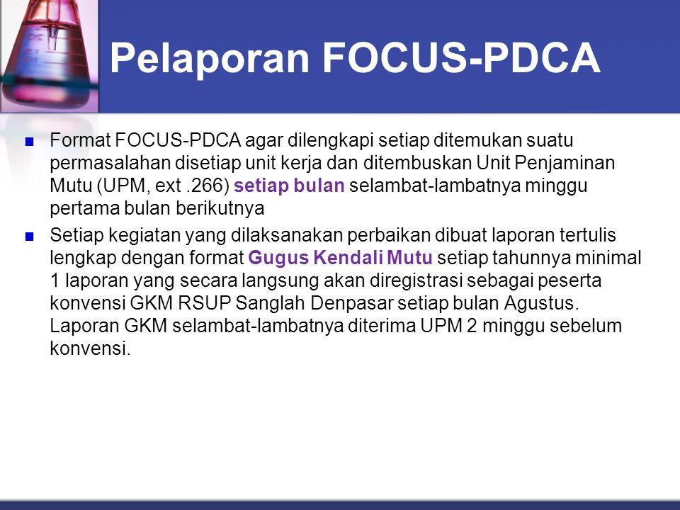 Pelaporan FOCUS-PDCA Format FOCUS-PDCA agar dilengkapi setiap ditemukan suatu permasalahan disetiap unit kerja dan ditembuskan Unit Penjaminan Mutu (U