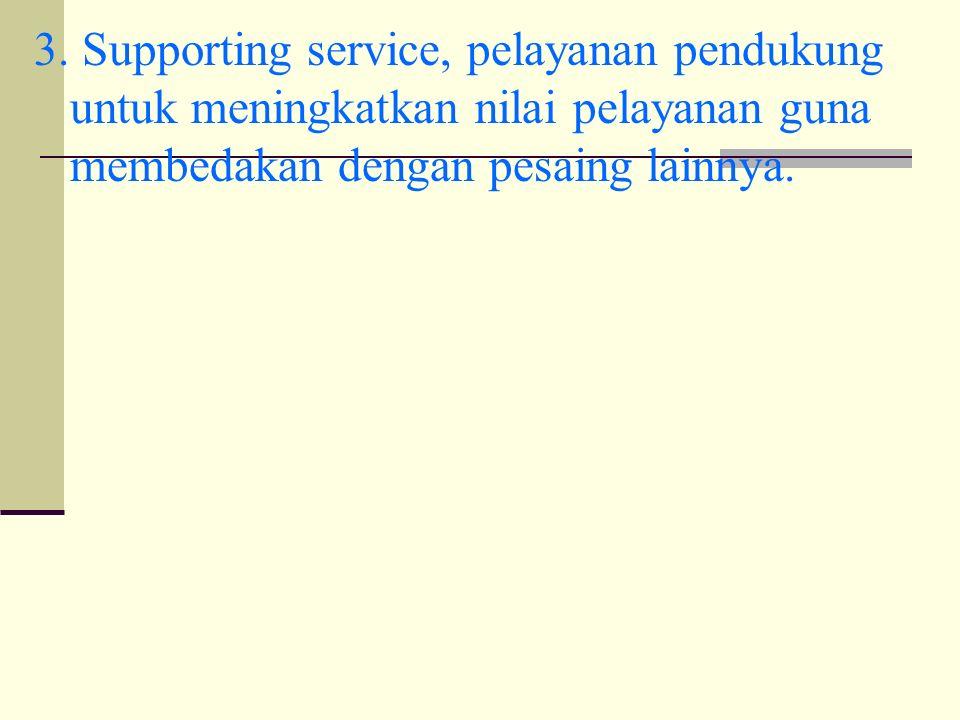 3. Supporting service, pelayanan pendukung untuk meningkatkan nilai pelayanan guna membedakan dengan pesaing lainnya.