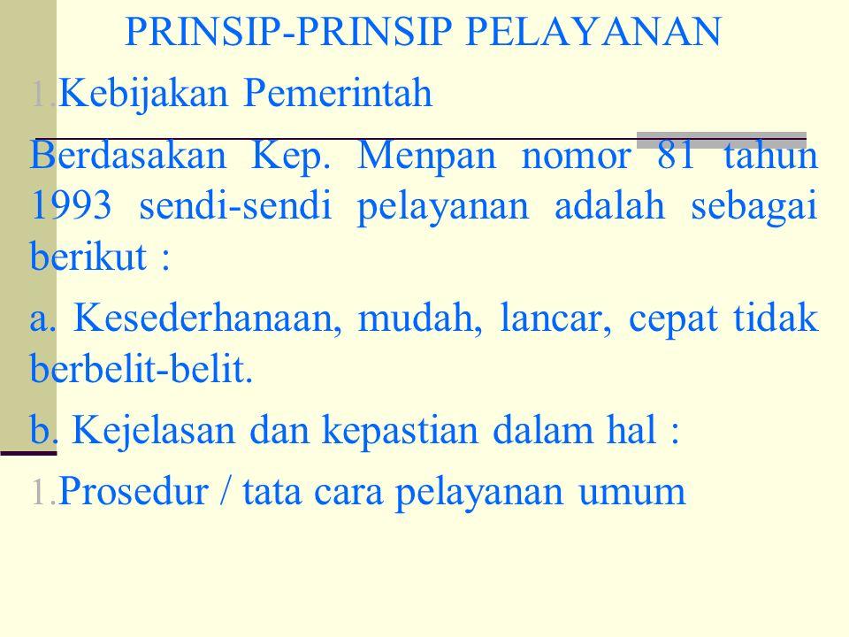 PRINSIP-PRINSIP PELAYANAN 1. Kebijakan Pemerintah Berdasakan Kep.
