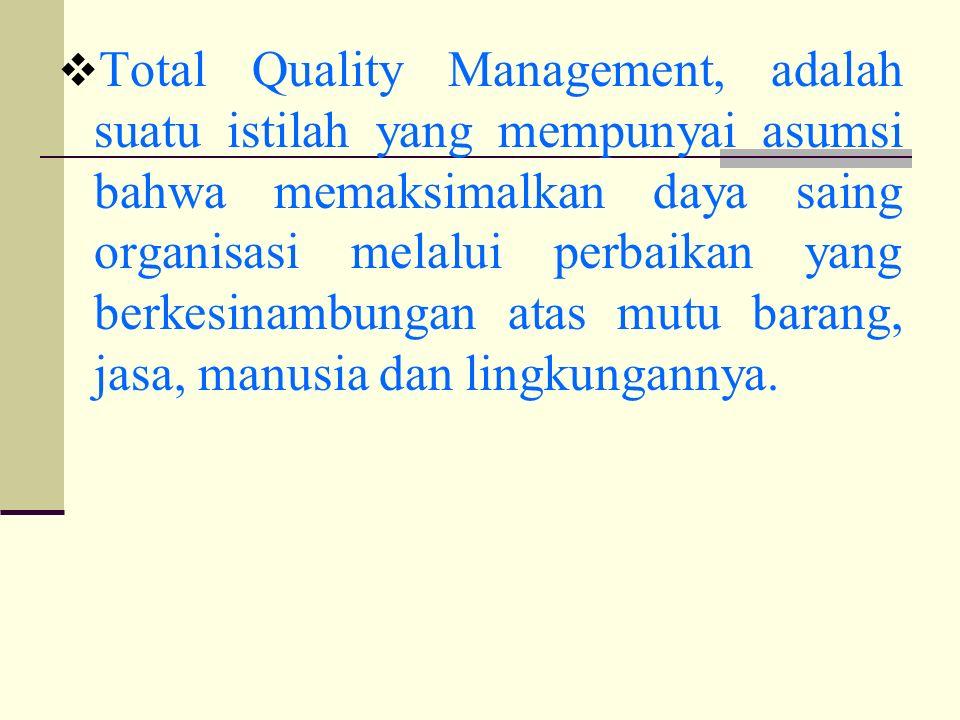 TTotal Quality Management, adalah suatu istilah yang mempunyai asumsi bahwa memaksimalkan daya saing organisasi melalui perbaikan yang berkesinambungan atas mutu barang, jasa, manusia dan lingkungannya.