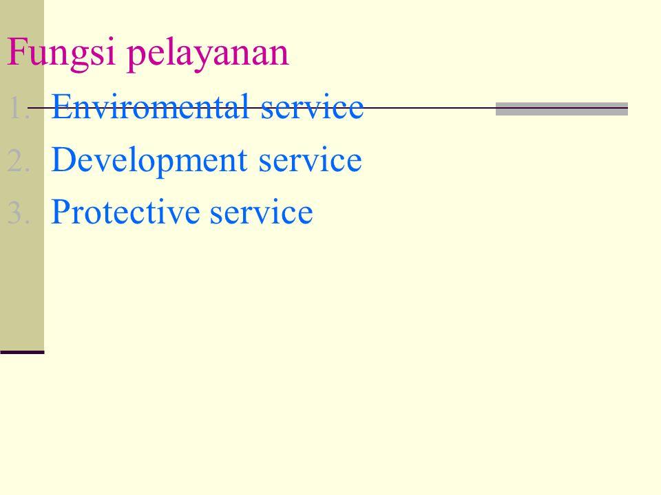 Fungsi pelayanan 1. Enviromental service 2. Development service 3. Protective service