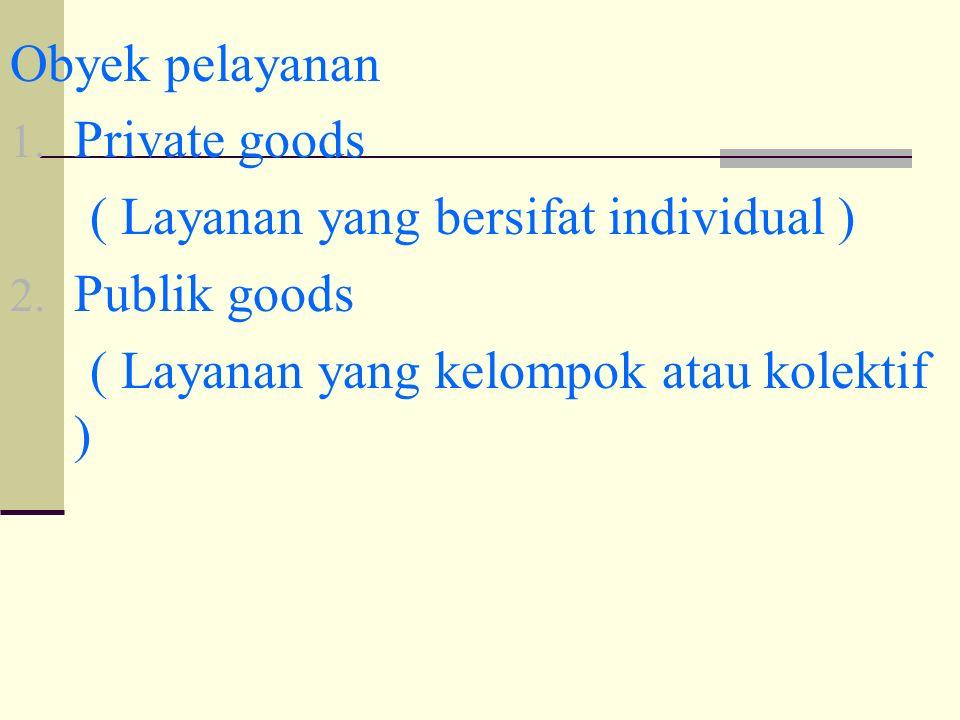 Obyek pelayanan 1. Private goods ( Layanan yang bersifat individual ) 2.