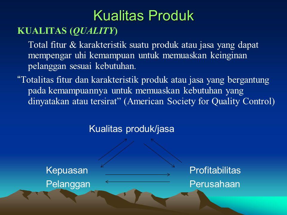 Kualitas Produk KUALITAS (QUALITY) Total fitur & karakteristik suatu produk atau jasa yang dapat mempengaruhi kemampuan untuk memuaskan keinginan pela