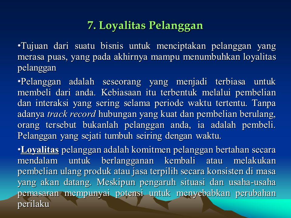 7. Loyalitas Pelanggan Tujuan dari suatu bisnis untuk menciptakan pelanggan yang merasa puas, yang pada akhirnya mampu menumbuhkan loyalitas pelanggan