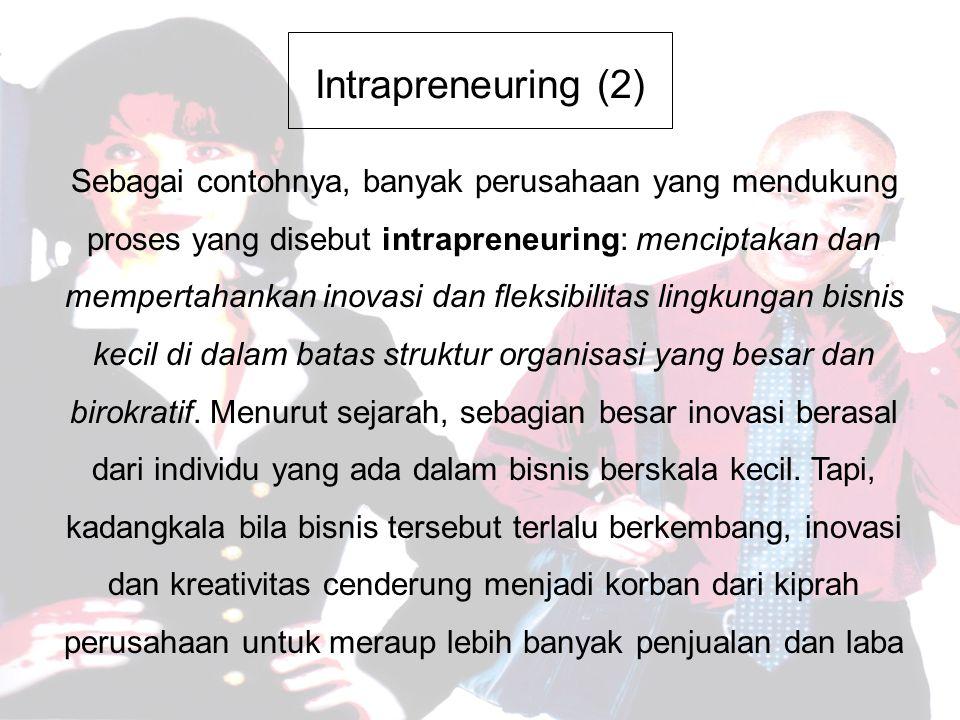 Intrapreneuring (2) Sebagai contohnya, banyak perusahaan yang mendukung proses yang disebut intrapreneuring: menciptakan dan mempertahankan inovasi dan fleksibilitas lingkungan bisnis kecil di dalam batas struktur organisasi yang besar dan birokratif.