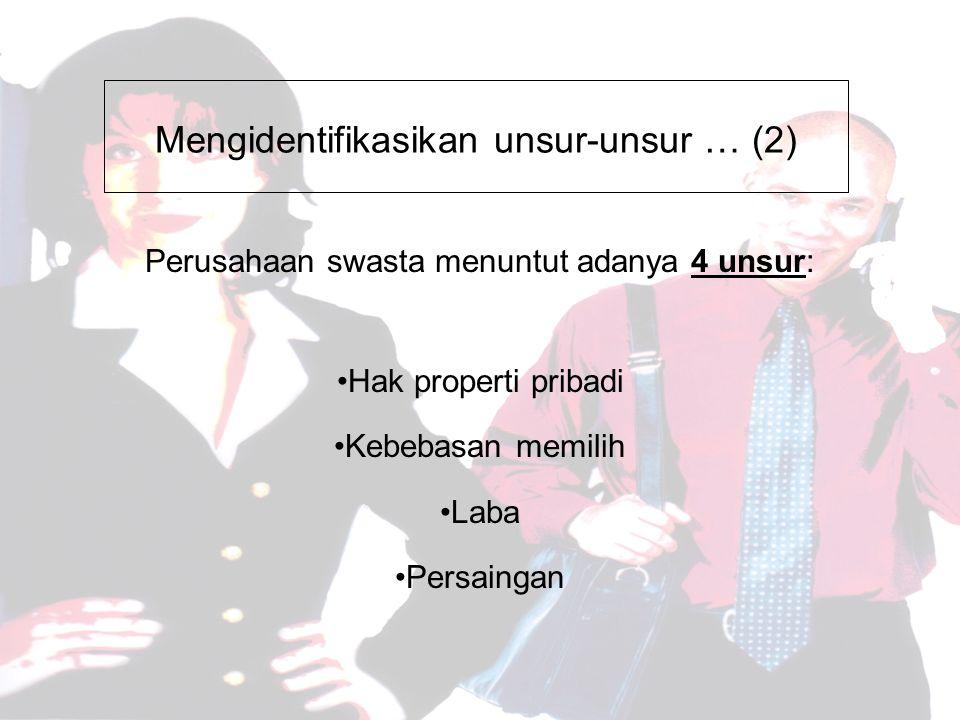 Mengidentifikasikan unsur-unsur … (2) Perusahaan swasta menuntut adanya 4 unsur: Hak properti pribadi Kebebasan memilih Laba Persaingan