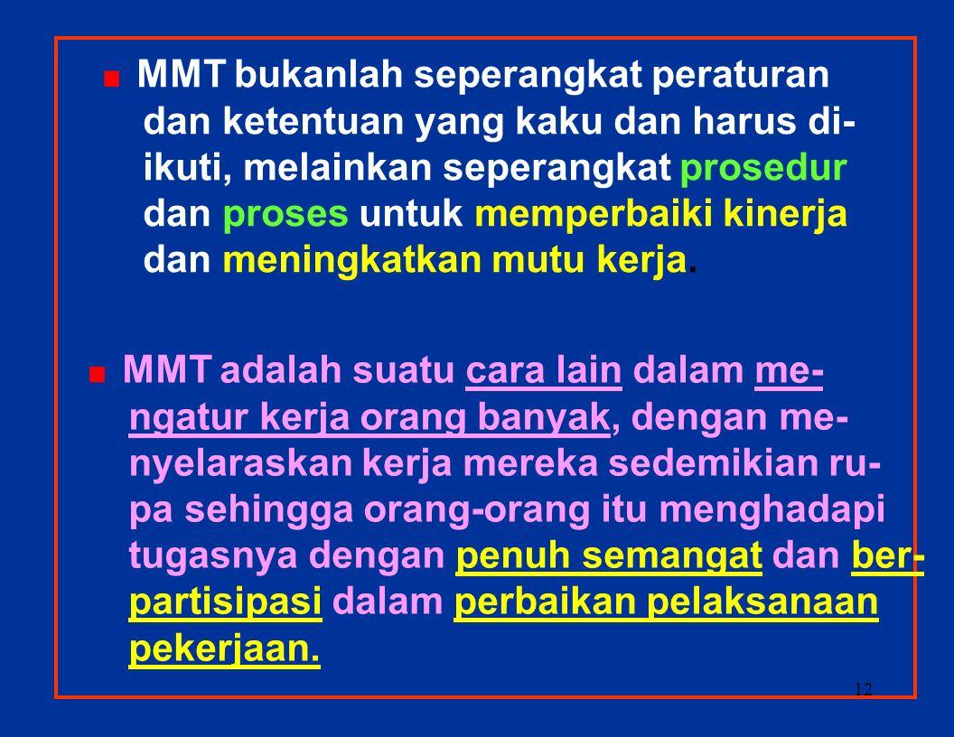 11 PENGERTIAN TENTANG MANAJEMEN MUTU TERPADU (MMT) è è MMT = T otal Q uality M anagement (TQM)   Total = Semua Hal dan Semua Orang oleh Semua Orang.