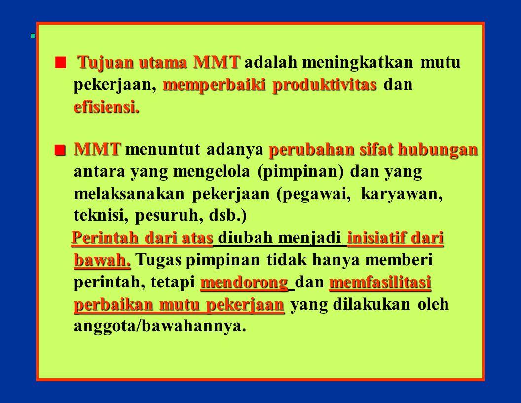 12 MMT bukanlah seperangkat peraturan dan ketentuan yang kaku dan harus di- ikuti, melainkan seperangkat prosedur dan proses untuk memperbaiki kinerja dan meningkatkan mutu kerja.