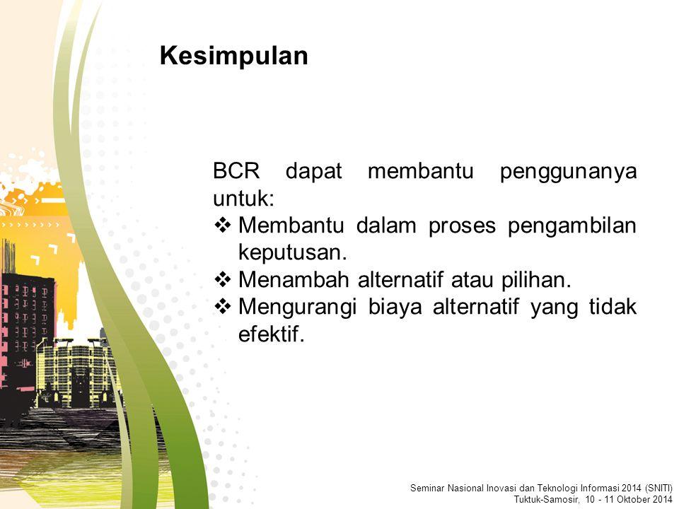 Seminar Nasional Inovasi dan Teknologi Informasi 2014 (SNITI) Tuktuk-Samosir, 10 - 11 Oktober 2014 BCR dapat membantu penggunanya untuk:  Membantu dalam proses pengambilan keputusan.