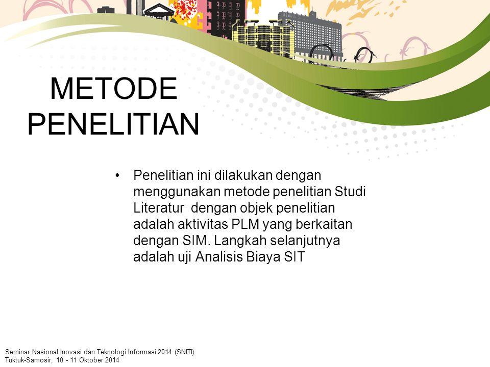 METODE PENELITIAN Penelitian ini dilakukan dengan menggunakan metode penelitian Studi Literatur dengan objek penelitian adalah aktivitas PLM yang berkaitan dengan SIM.