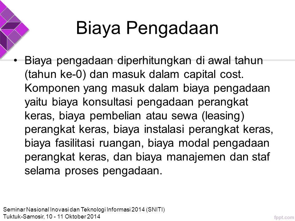 Biaya Pengadaan Biaya pengadaan diperhitungkan di awal tahun (tahun ke-0) dan masuk dalam capital cost.