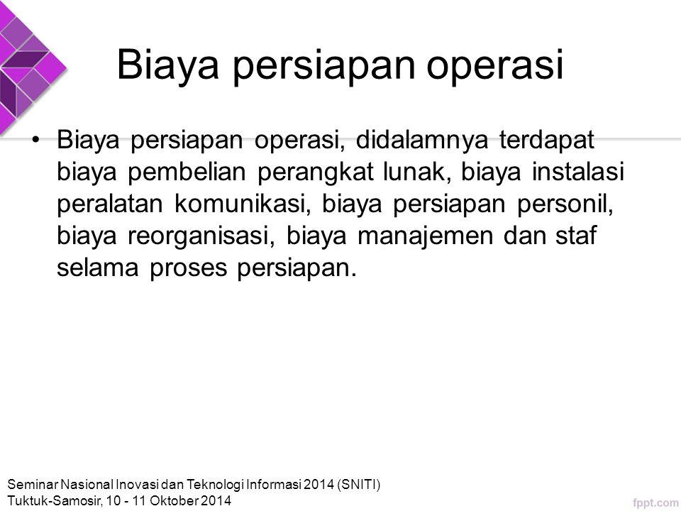 Biaya persiapan operasi Biaya persiapan operasi, didalamnya terdapat biaya pembelian perangkat lunak, biaya instalasi peralatan komunikasi, biaya persiapan personil, biaya reorganisasi, biaya manajemen dan staf selama proses persiapan.