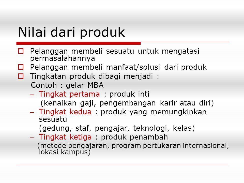 Nilai dari produk  Pelanggan membeli sesuatu untuk mengatasi permasalahannya  Pelanggan membeli manfaat/solusi dari produk  Tingkatan produk dibagi
