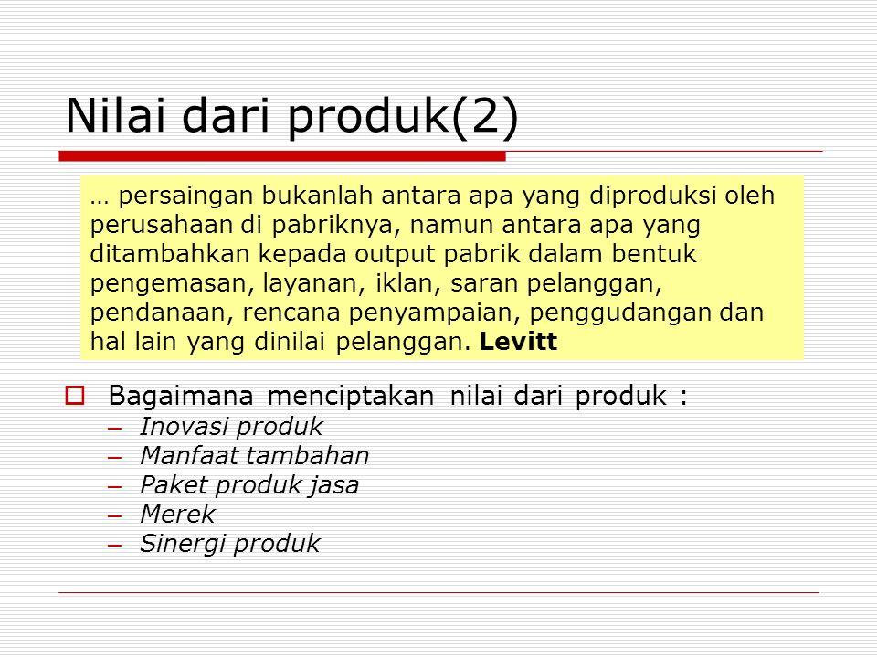 Nilai dari produk(2)  Bagaimana menciptakan nilai dari produk : – Inovasi produk – Manfaat tambahan – Paket produk jasa – Merek – Sinergi produk … pe