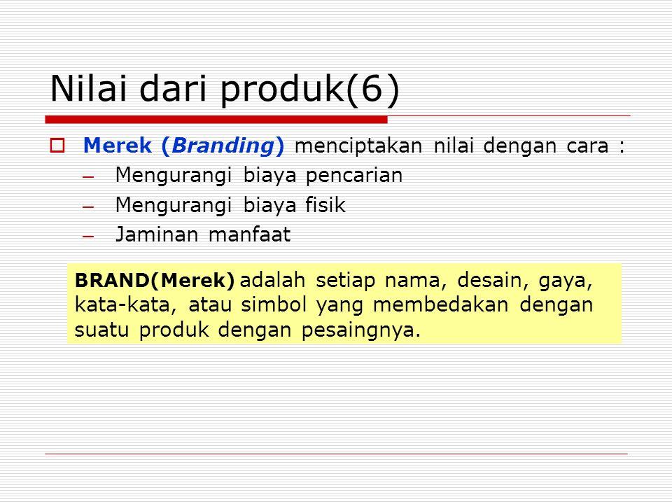 Nilai dari produk(6)  Merek (Branding) menciptakan nilai dengan cara : – Mengurangi biaya pencarian – Mengurangi biaya fisik – Jaminan manfaat BRAND(