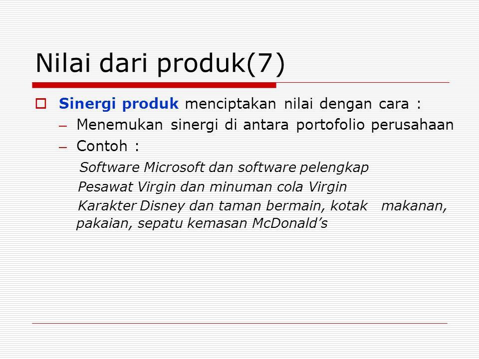 Nilai dari produk(7)  Sinergi produk menciptakan nilai dengan cara : – Menemukan sinergi di antara portofolio perusahaan – Contoh : Software Microsof