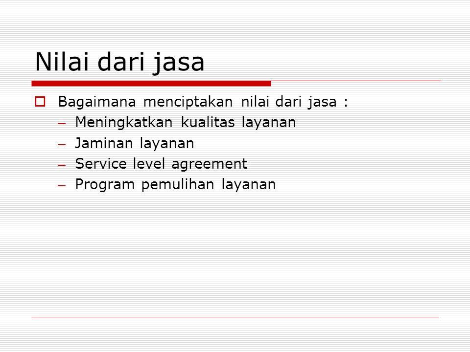 Nilai dari jasa  Bagaimana menciptakan nilai dari jasa : – Meningkatkan kualitas layanan – Jaminan layanan – Service level agreement – Program pemuli