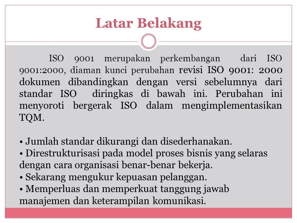 Latar Belakang ISO 9001 merupakan perkembangan dari ISO 9001:2000, diaman kunci perubahan revisi ISO 9001: 2000 dokumen dibandingkan dengan versi sebelumnya dari standar ISO diringkas di bawah ini.
