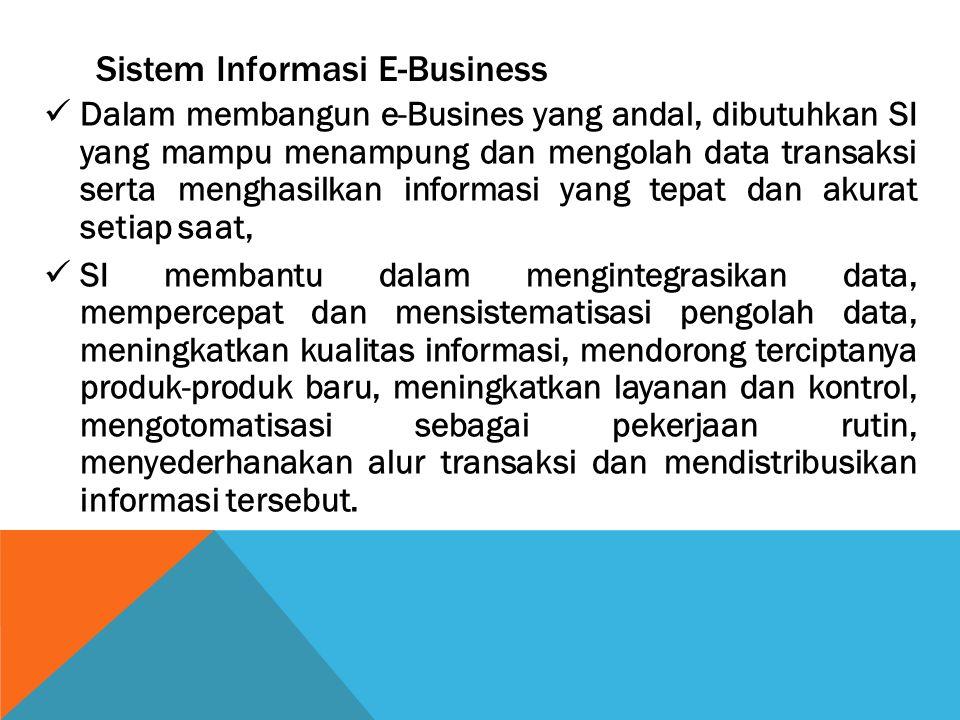 Sistem Informasi E-Business Dalam membangun e-Busines yang andal, dibutuhkan SI yang mampu menampung dan mengolah data transaksi serta menghasilkan in