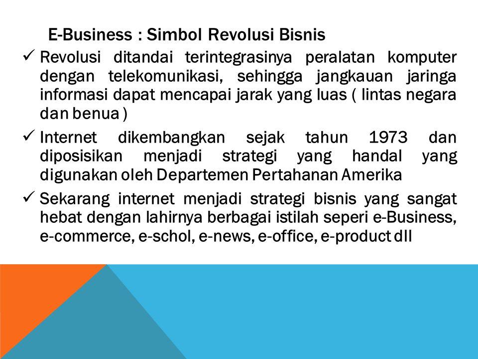 E-Business : Simbol Revolusi Bisnis Revolusi ditandai terintegrasinya peralatan komputer dengan telekomunikasi, sehingga jangkauan jaringa informasi d
