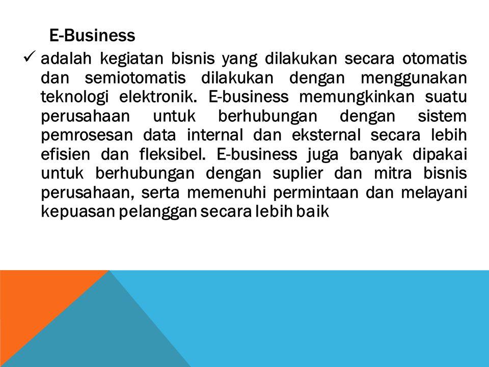 E-Business adalah kegiatan bisnis yang dilakukan secara otomatis dan semiotomatis dilakukan dengan menggunakan teknologi elektronik. E-business memung