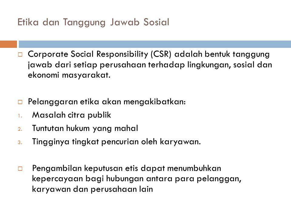 Etika dan Tanggung Jawab Sosial  Corporate Social Responsibility (CSR) adalah bentuk tanggung jawab dari setiap perusahaan terhadap lingkungan, sosia